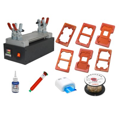 LCD Screen Assembly Repair & LCD Touch Screen Glass Separator Machine for iPhone and Samsung Phones Tablets (Black) - Combo Set